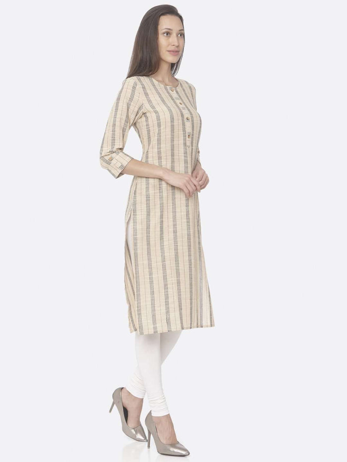 Right Side Beige Printed Cotton Straight Kurti With Palazzo Pant