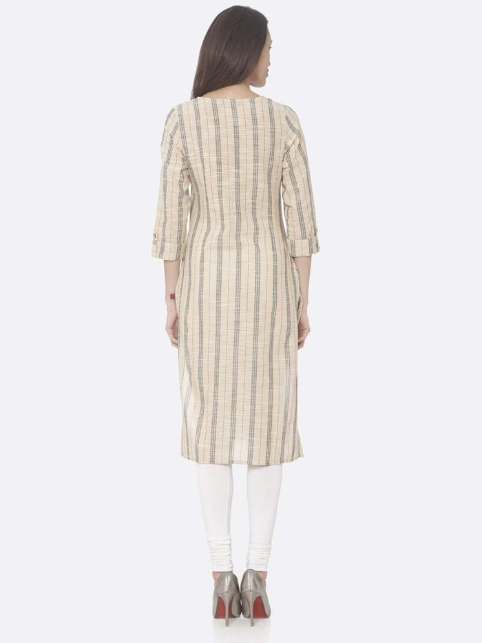Back Side Beige Printed Cotton Straight Kurti with White Palazzo Pant