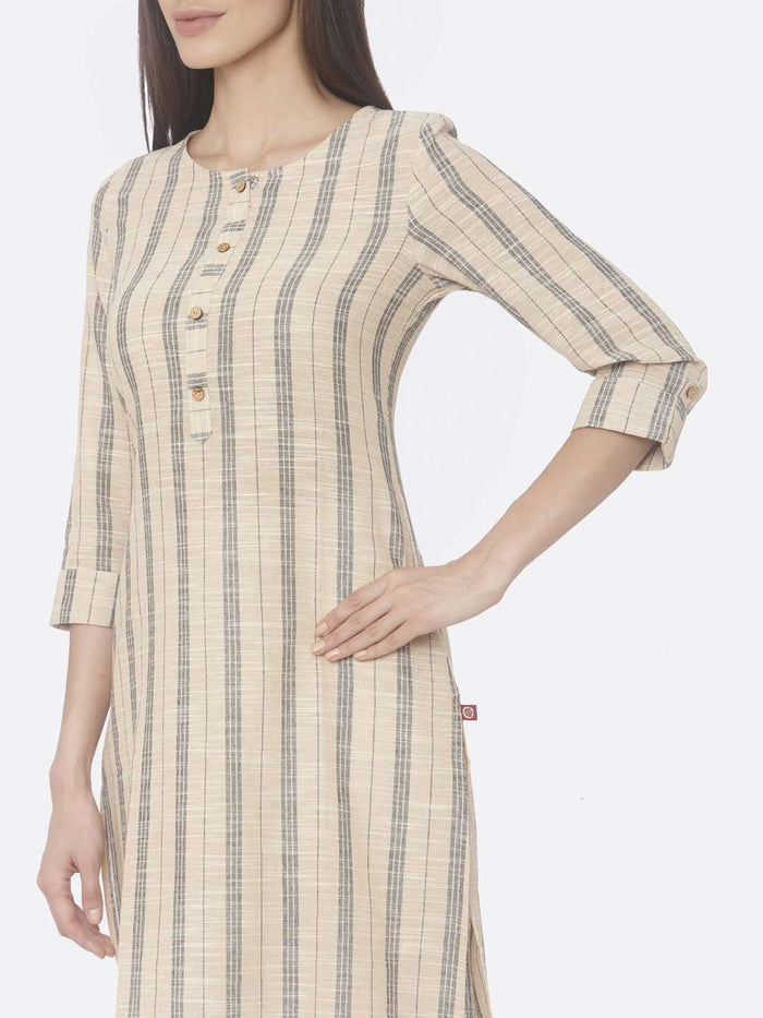 Left Side Printed Cotton Straight Kurti With Beige Color