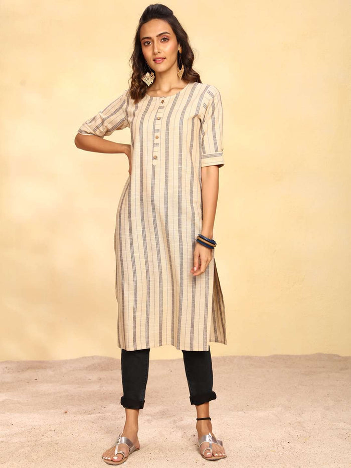 Front Side  Beige Printed Cotton Straight Kurti With Black Pant