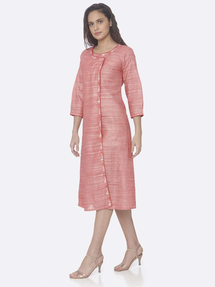 Left Side Pink Embroidered Rayon A-Line Dress