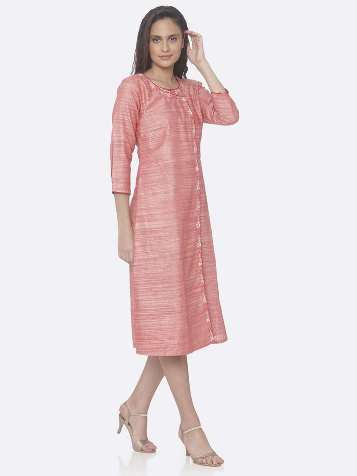 Right Side Pink Embroidered Rayon A-Line Dress