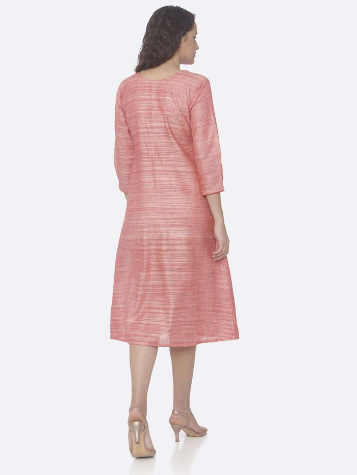 Back Side Pink Embroidered Rayon A-Line Dress
