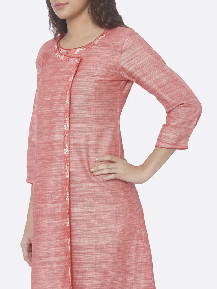 Left Side Embroidered Rayon A-Line Dress With Pink Color