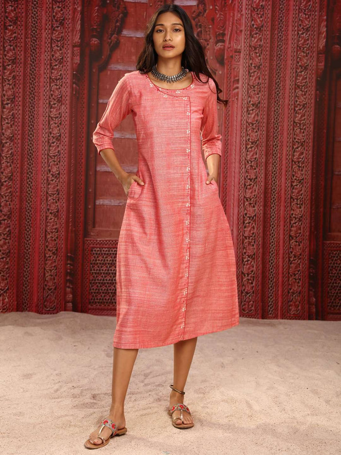 Front Side Pink Embroidered Rayon A-Line Dress