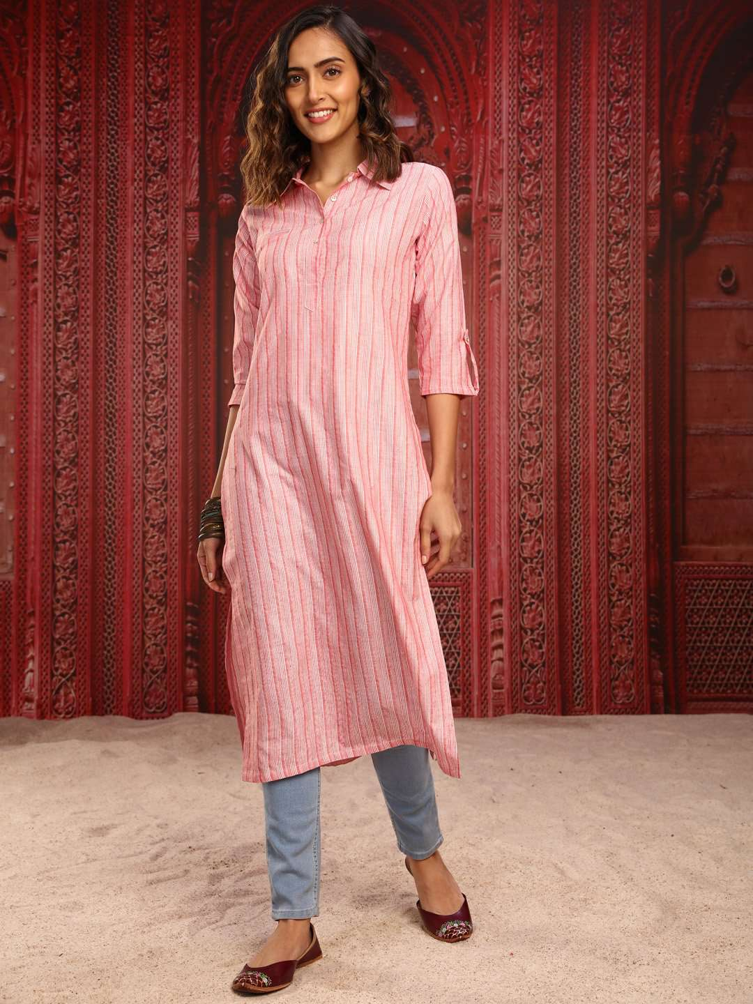 Pink Printed Handloom Cotton Straight Kurti