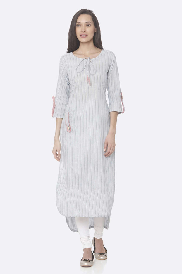 Front Side Blue Printed Handloom Cotton Up&Down Kurti With White Color