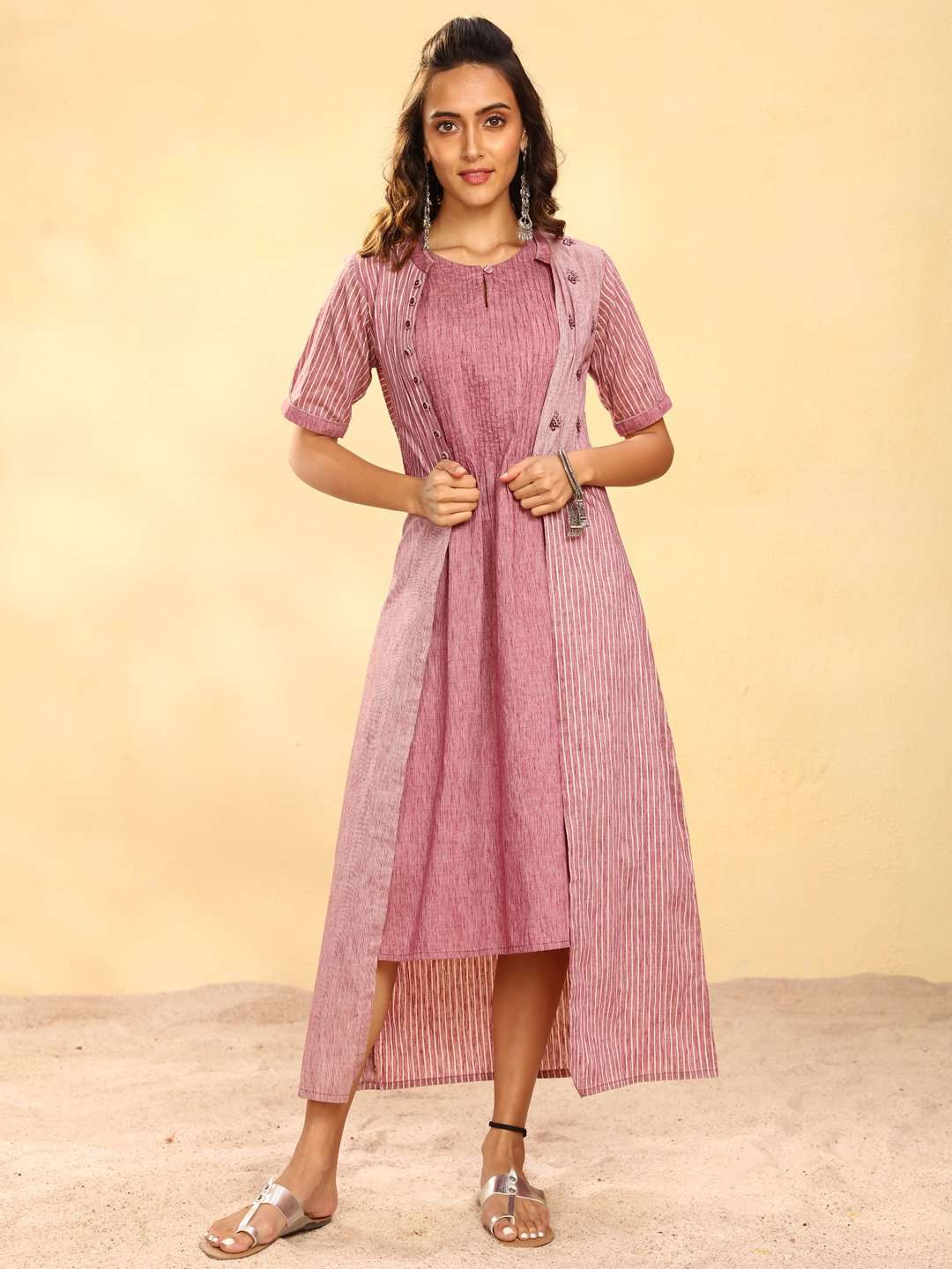 Pink Printed Weaving Cotton A-Line Dress