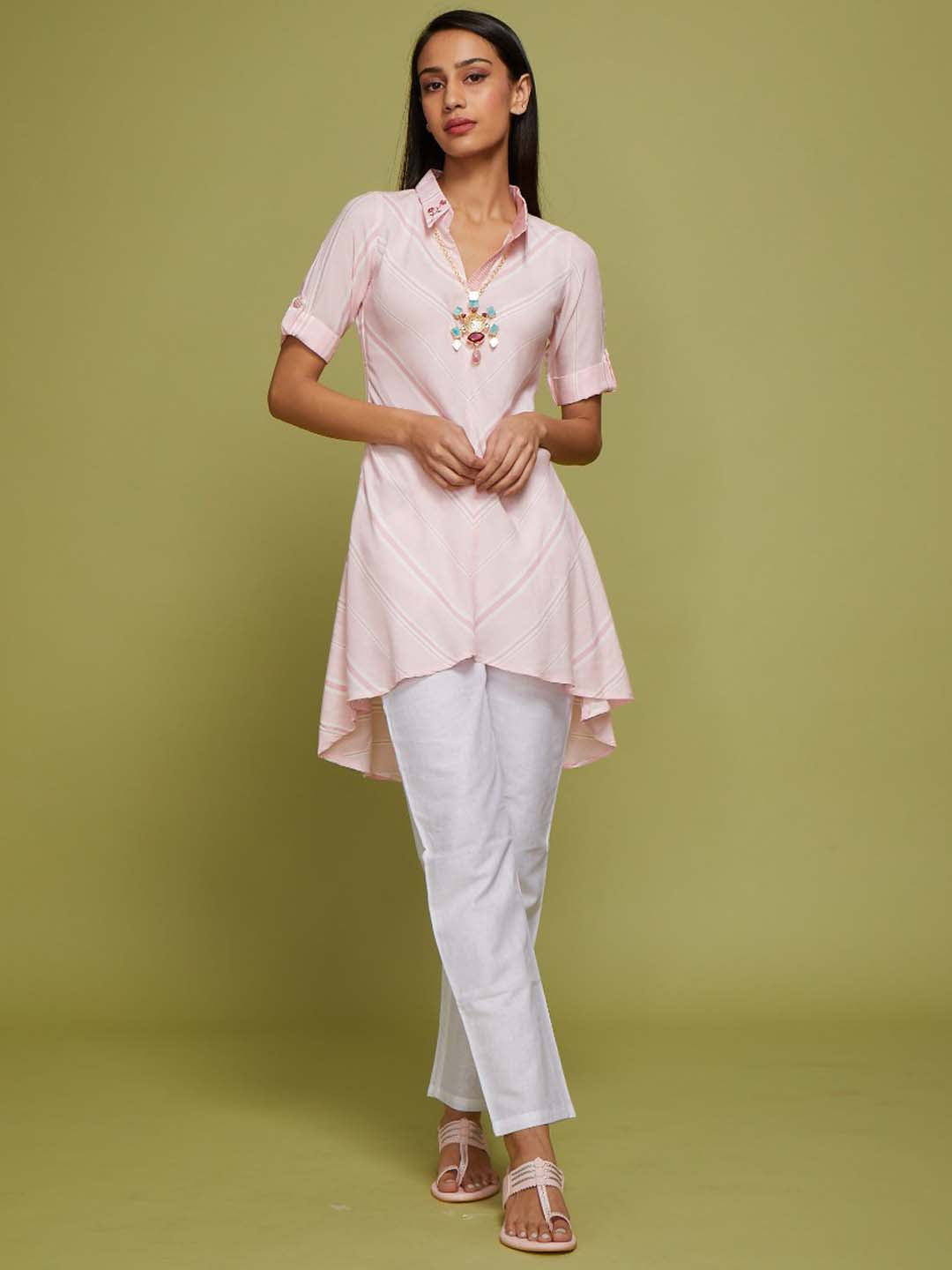 Pink Printed Rayon & Cotton Flex Up&Down Tunic With Pant