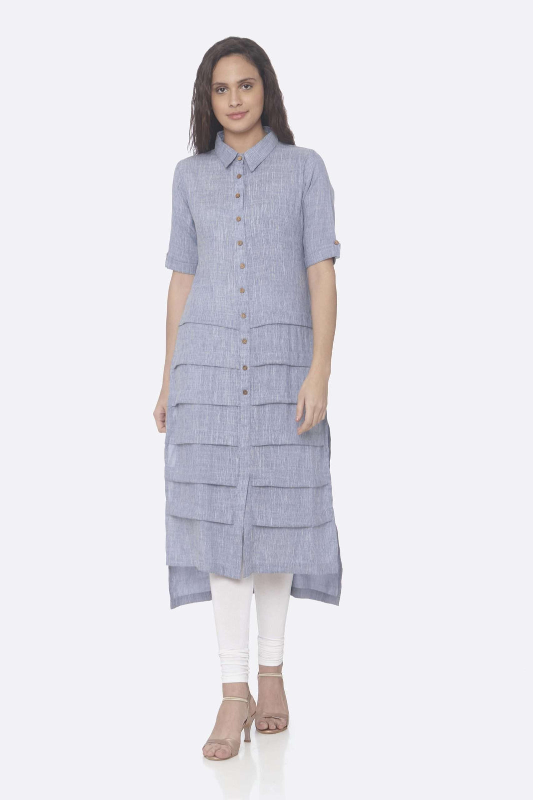 Front Side Blue Solid Rayon Straight Kurti With White Palazzo Pant