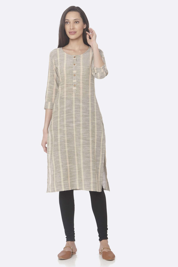 Front Side Beige Printed Cotton Straight Kurti With Black Palazzo Pant