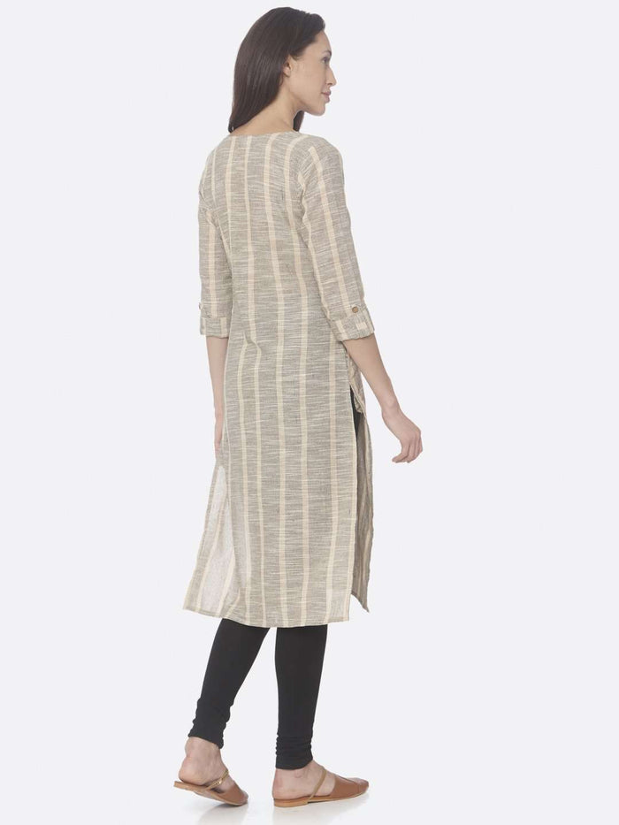 Back Right Side Beige Printed Cotton Straight Kurti With Black Palazzo Pant