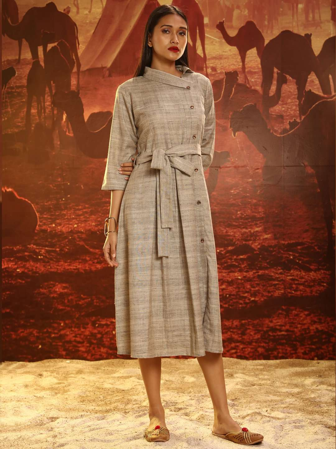 Grey Solid Khadi Flared Dress