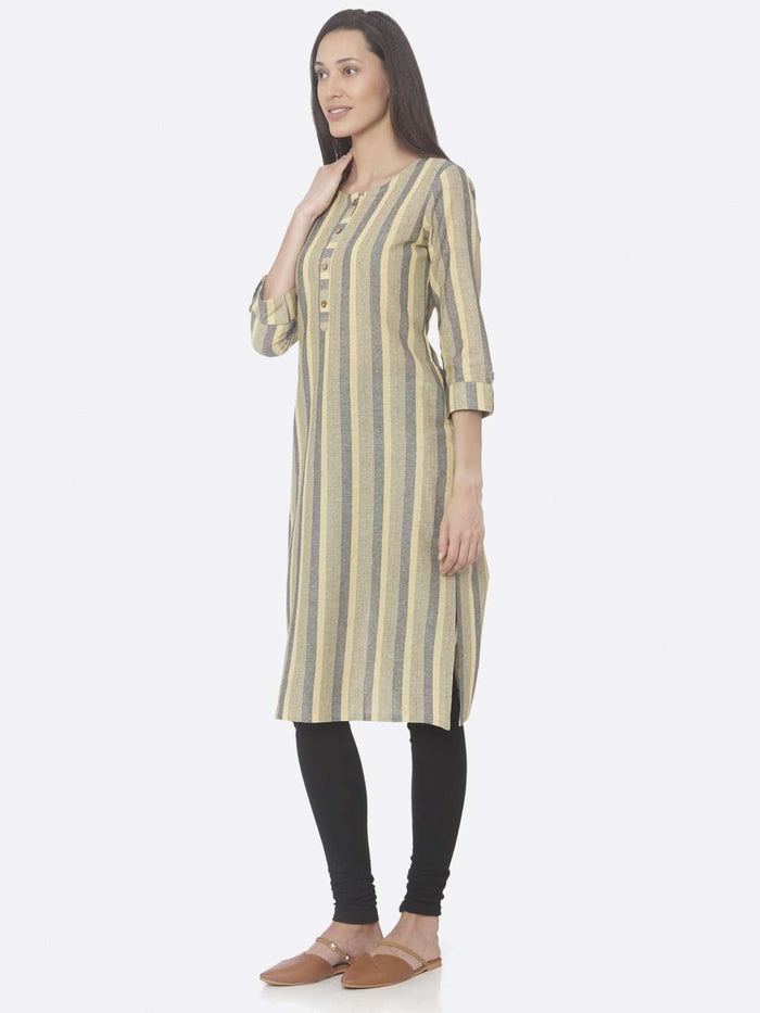 Left Side Yellow Printed Weaving Cotton Straight Kurti With Black Palazzo Pant