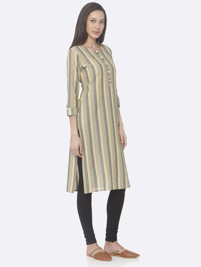 Right Side Yellow Printed Weaving Cotton Straight Kurti With Black Palazzo Pant