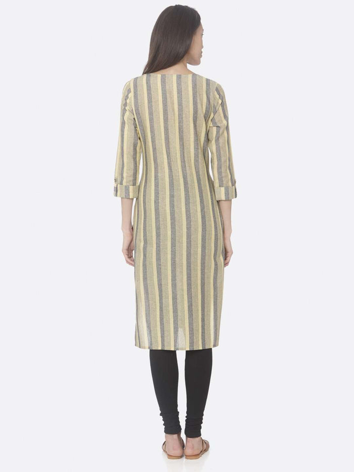 Back Side Yellow Printed Weaving Cotton Straight Kurti With Black Palazzo Pant