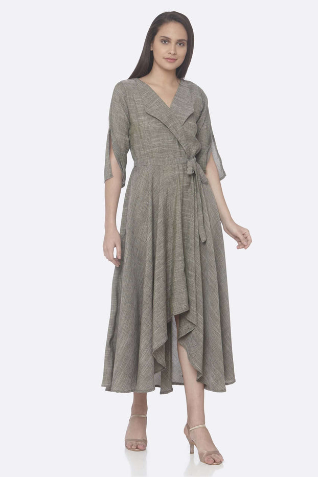 Front Side Solid Weaving Poly Viscose Asymmetrical Dress With Grey Color