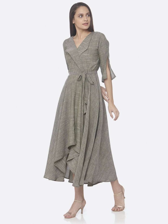 Left Side Grey Solid Weaving Poly Viscose Asymmetrical Dress