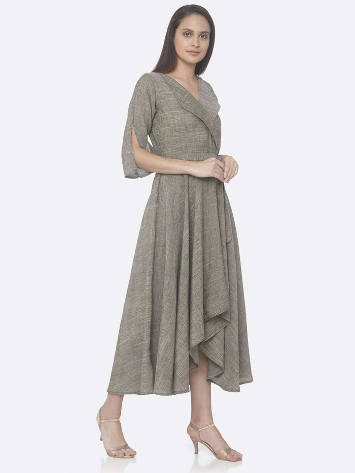 Right Side Grey Solid Weaving Poly Viscose Asymmetrical Dress