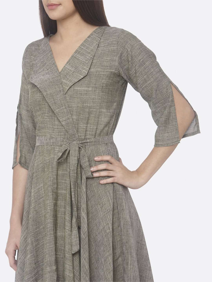 Left Side Solid Weaving Poly Viscose Asymmetrical Dress With Grey Color