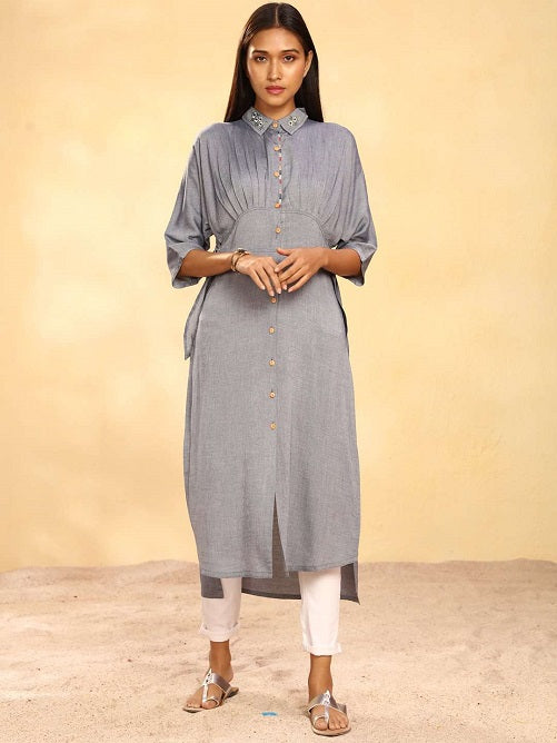 Front Side Navy Solid Weaving Viscose Straight Kurta