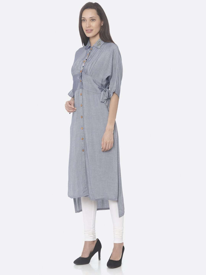 Left Side Navy Solid Weaving Viscose Straight Kurta
