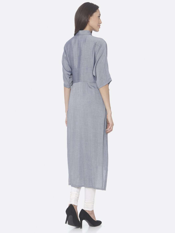 Back Side Navy Solid Weaving Viscose Straight Kurta