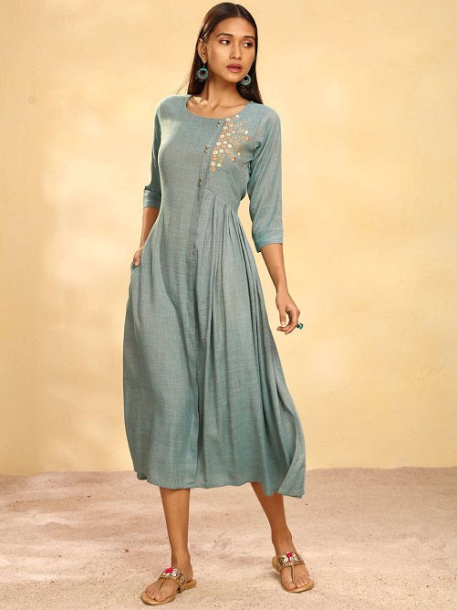 Front Side Blue Solid Weaving and Embroidered Two Tone Viscose A-Line Dress