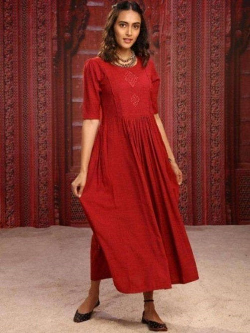 Front Side Red Solid Weaving and Embroidered Two Tone Viscose A-Line Dress