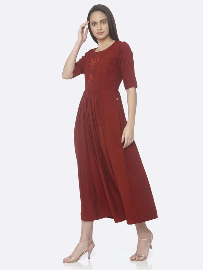 Left Side Red Solid Weaving and Embroidered Two Tone Viscose A-Line Dress