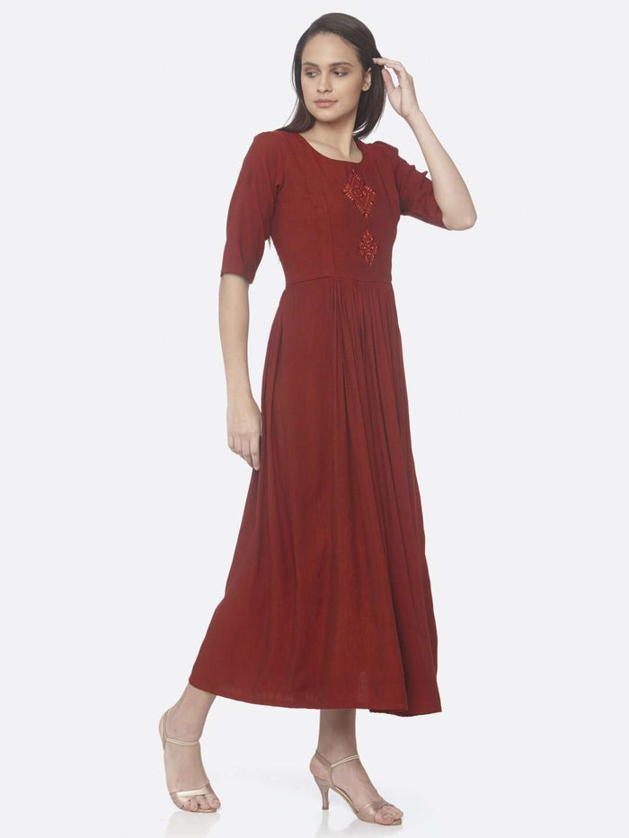 Right Side Red Solid Weaving and Embroidered Two Tone Viscose A-Line Dress