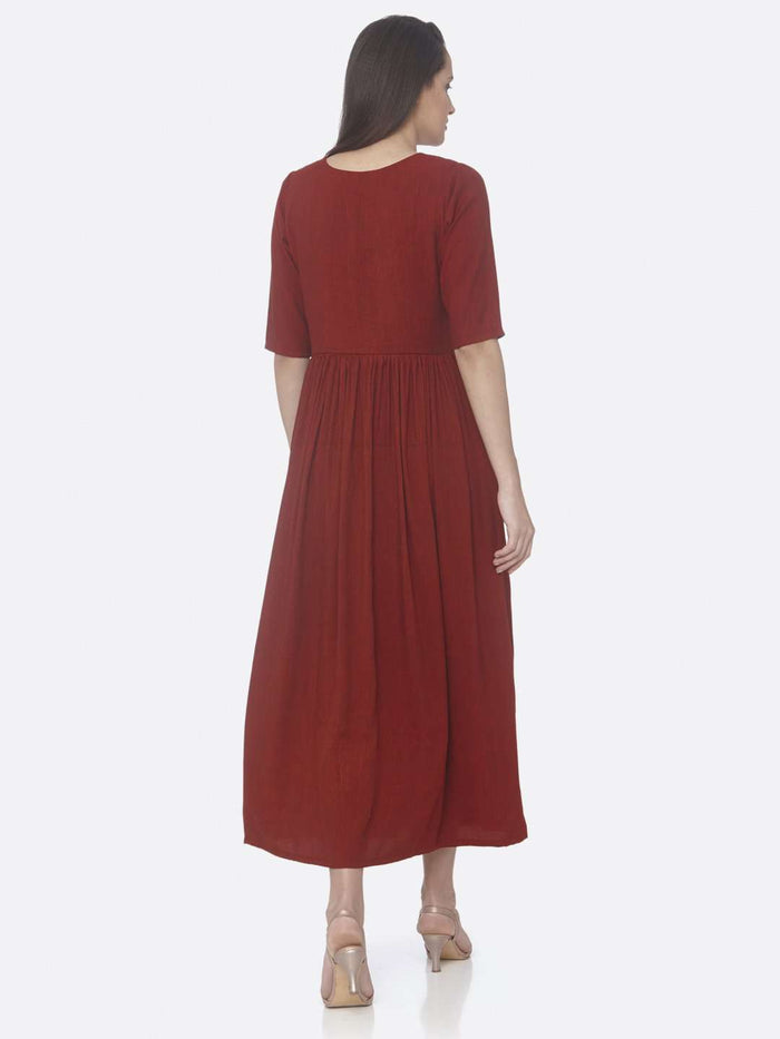 Back Side Red Solid Weaving and Embroidered Two Tone Viscose A-Line Dress