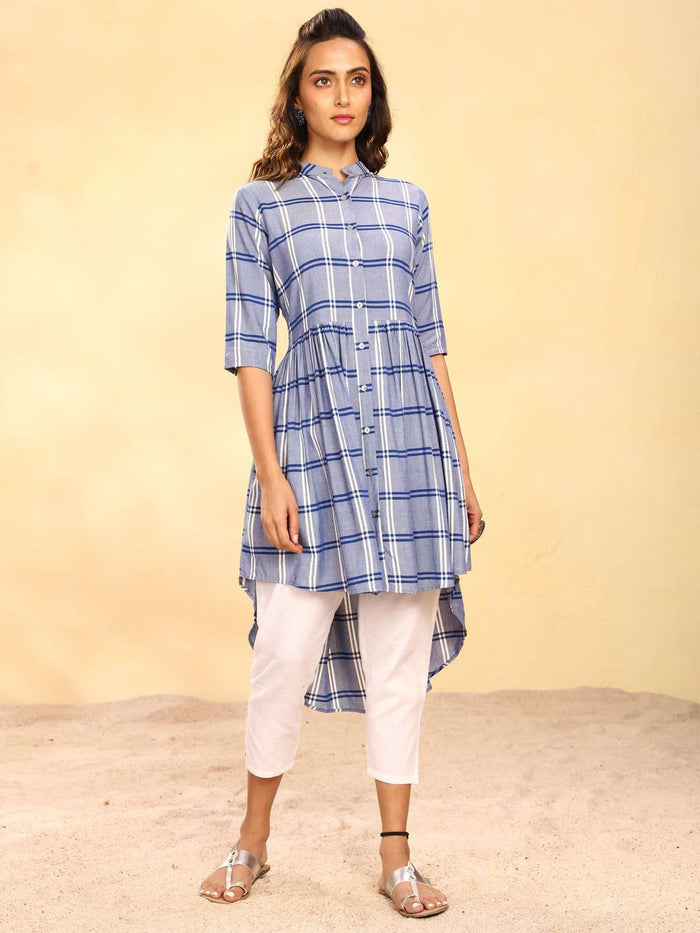 Front Side Blue Printed Rayon Asymmetrical Kurta Set With White palazzo Pant
