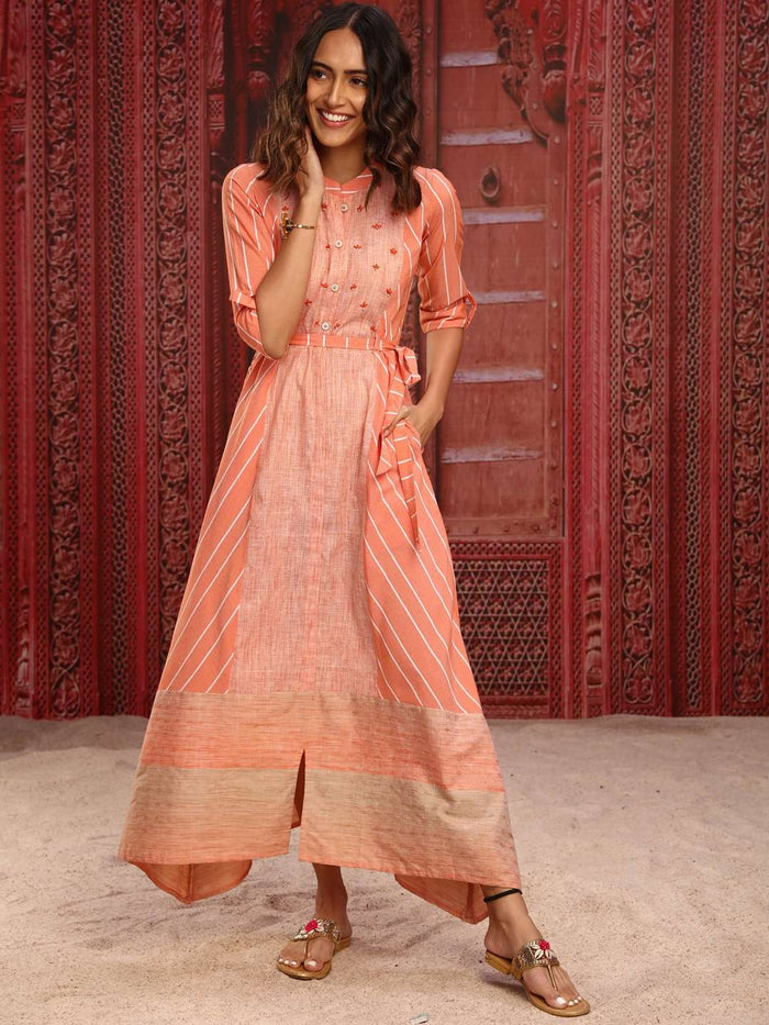 Orange Embroidered Cotton A-Line Dress