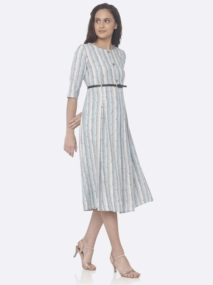 Sky Blue Printed Cotton A-Line Dress