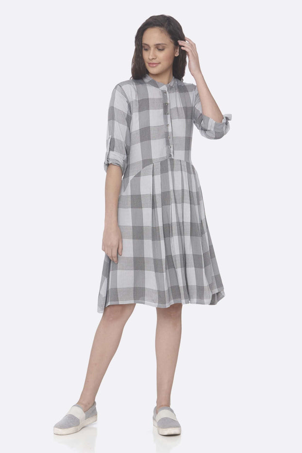 Front Side Printed Rayon Checks A-Line Dress With Grey Color