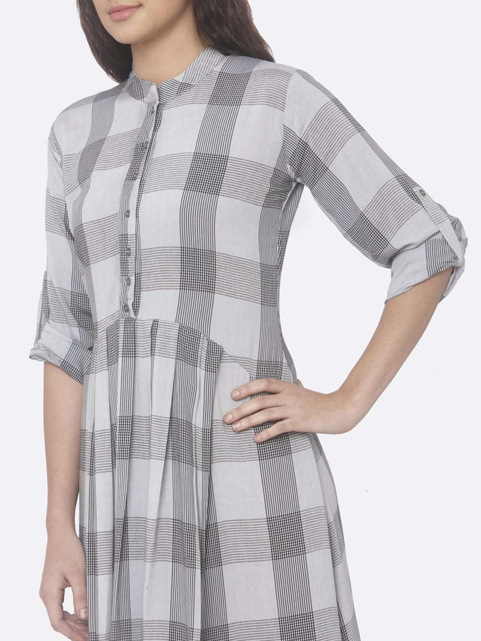 Left Side Printed Rayon Checks A-Line Dress With Grey Color