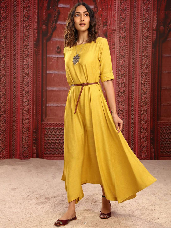 Yellow Solid Weaving Rayon Flex Flared Dress