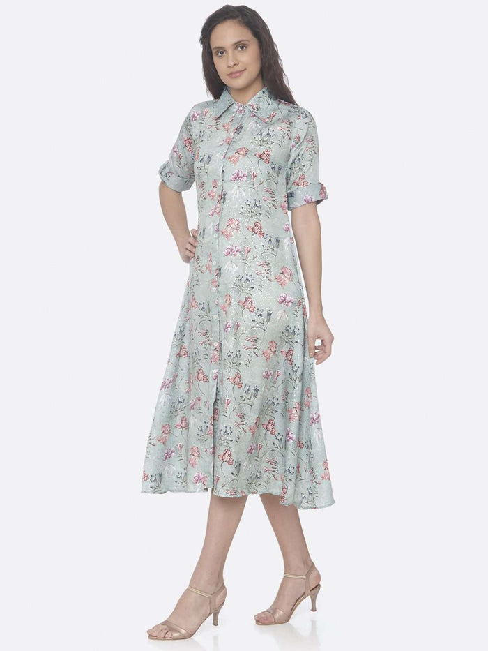 Left Side Green Printed Rayon With Foil Print A-Line Dress