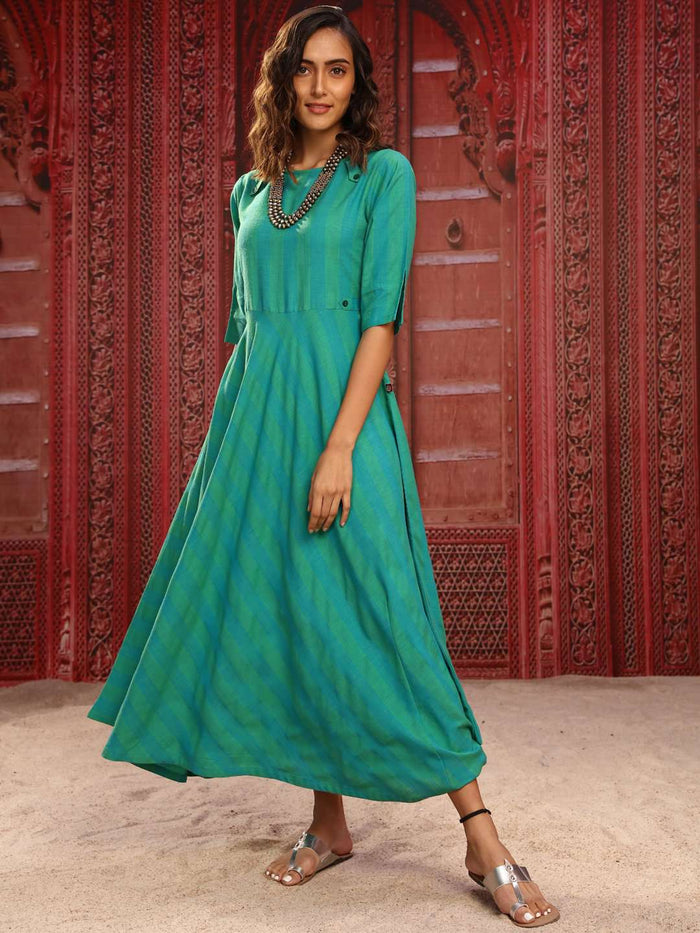 Front Side Green Printed Denim Rayon Flared Dress