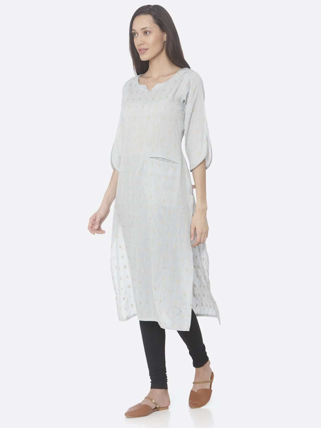 Front Side Light Grey Printed Weaving Cotton Jaquard A-Line Kurta With White Palazzo Pant