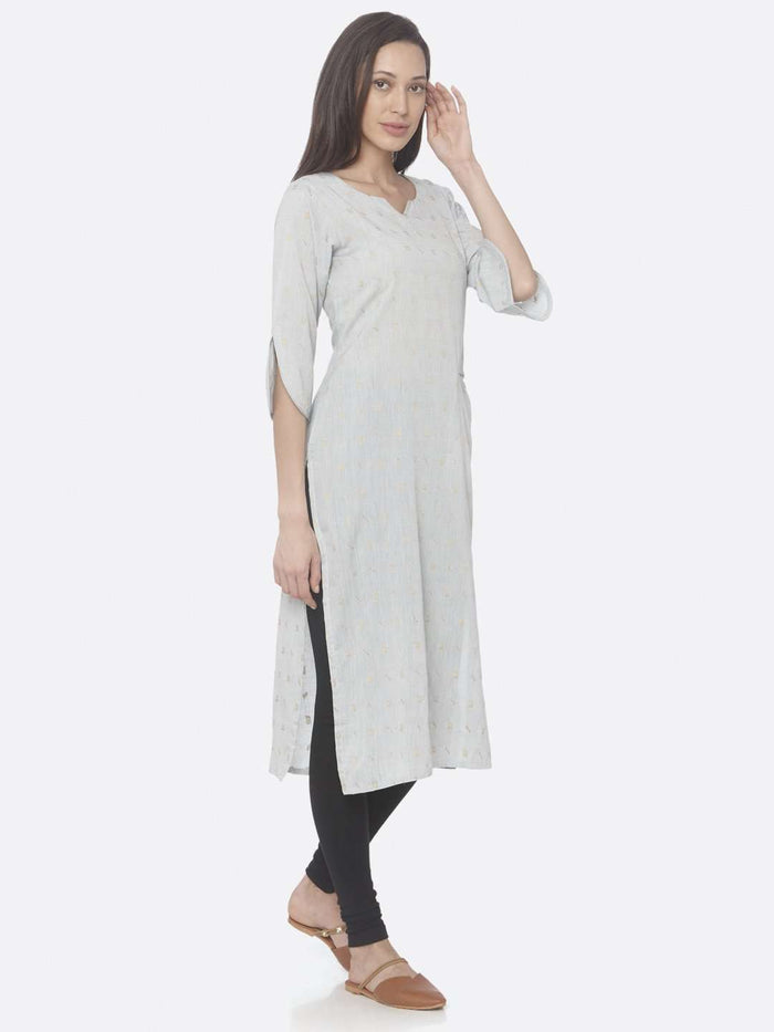 Right Side Light Grey Printed Weaving Cotton Jaquard A-Line Kurta With Black Palazzo Pant