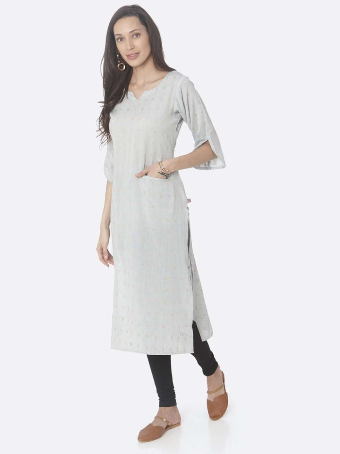 Left Side Light Grey Printed Weaving Cotton Jaquard A-Line Kurta