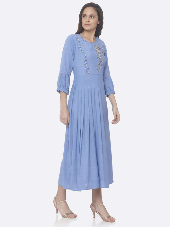 Blue Embroidered Cotton Viscose A-Line Dress