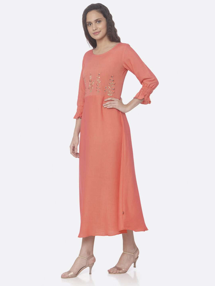 Left Side Pink Embroidered Two Tone Rayon A-Line Dress