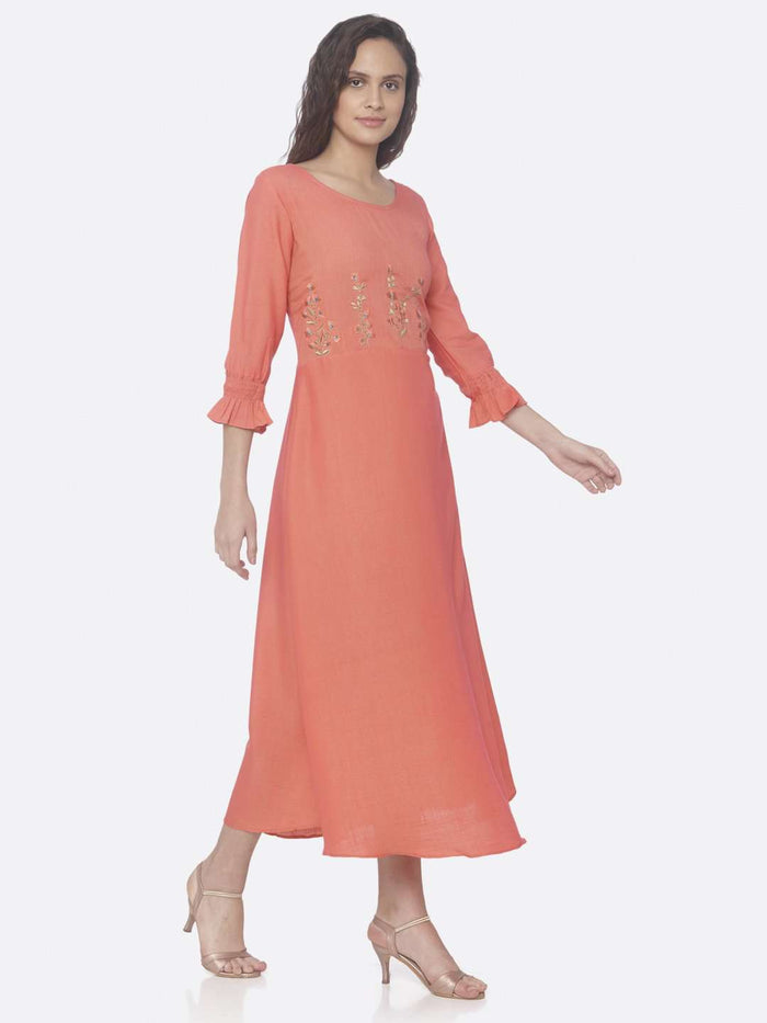 Right Side Pink Embroidered Two Tone Rayon A-Line Dress