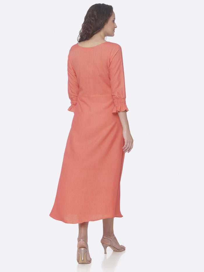 Back Side Pink Embroidered Two Tone Rayon A-Line Dress