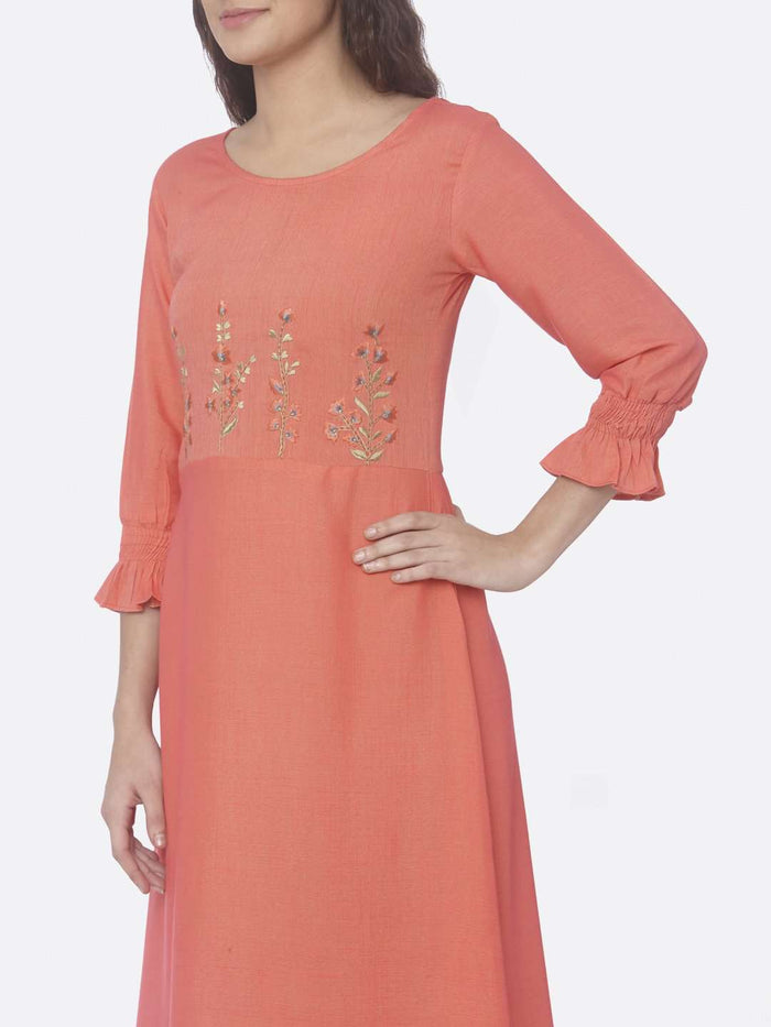 Left Side Embroidered Two Tone Rayon A-Line Dress With Pink Color