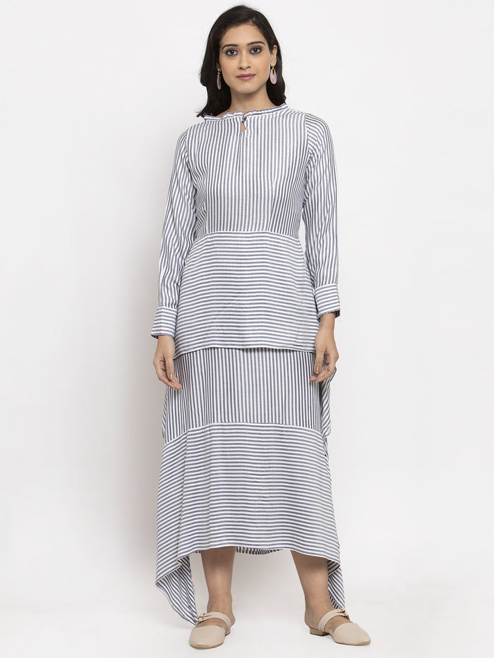 White Printed Rayon Asymmetrical Dress