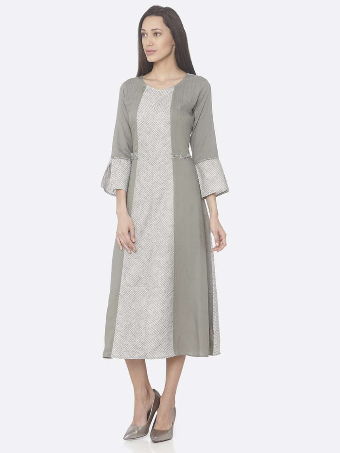 Front Side Grey Printed Rayon And Cotton A-Line Dress